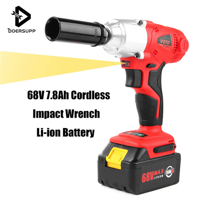 68v 7 8ah Cordless Impact Wrench Li Ion Lithium Battery Electrical High Torque Charger Rechargeable Tool With Led