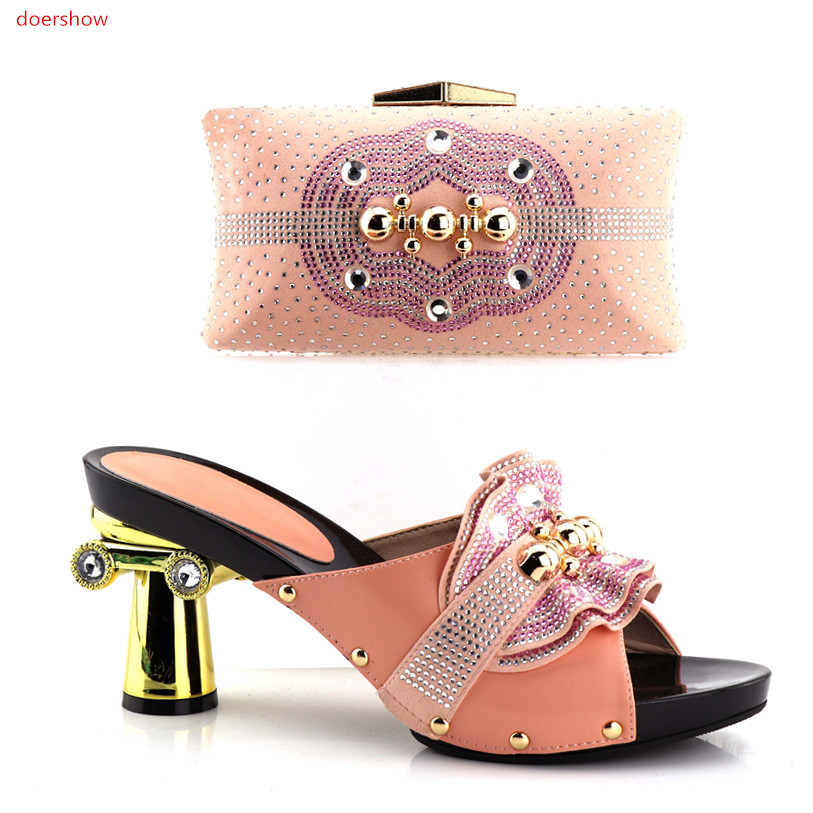 doershow pinkShoes and Bag To Match Italian African Wedding Shoes and Bag Sets High Quality Matching Italian Shoes and Bag!HV1-7 doershow italian shoes with matching bag high quality italy shoe and bag set for wedding and party purple free shipping hv1 59
