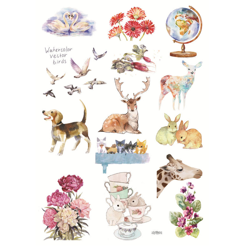 Cute stickers with animals for the decoration of interface