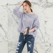 Women's Striped Sexy Oblique Strapless Loose Long-sleeved Collar Hedging Bat Sleeve Blouse Shirts Tops Size S-2XL