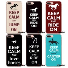 For iPhone X 4 4S 5 5S 5C SE 6 6S 7 8 Plus Samsung Galaxy J1 J3 J5 J7 A3 A5 2016 2017 Keep Calm and Ride On Horse Pony Soft Case(China)
