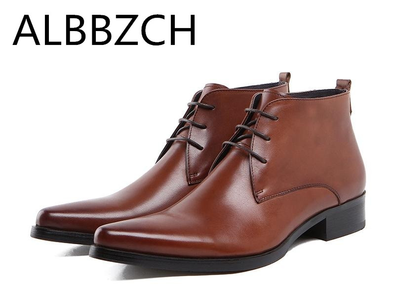 Fashion Pointed Toe Ankle Boots Luxury Brand Wedding Dress Shoes Genuine Leather Male Mens Designer Business Office Work BootsFashion Pointed Toe Ankle Boots Luxury Brand Wedding Dress Shoes Genuine Leather Male Mens Designer Business Office Work Boots