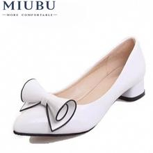 MIUBU Spring Womens Low Heel Leather Pointed Toe Shoes Woman High Red Bow Slip On Dress Zapatos Mujer Ladies Boat