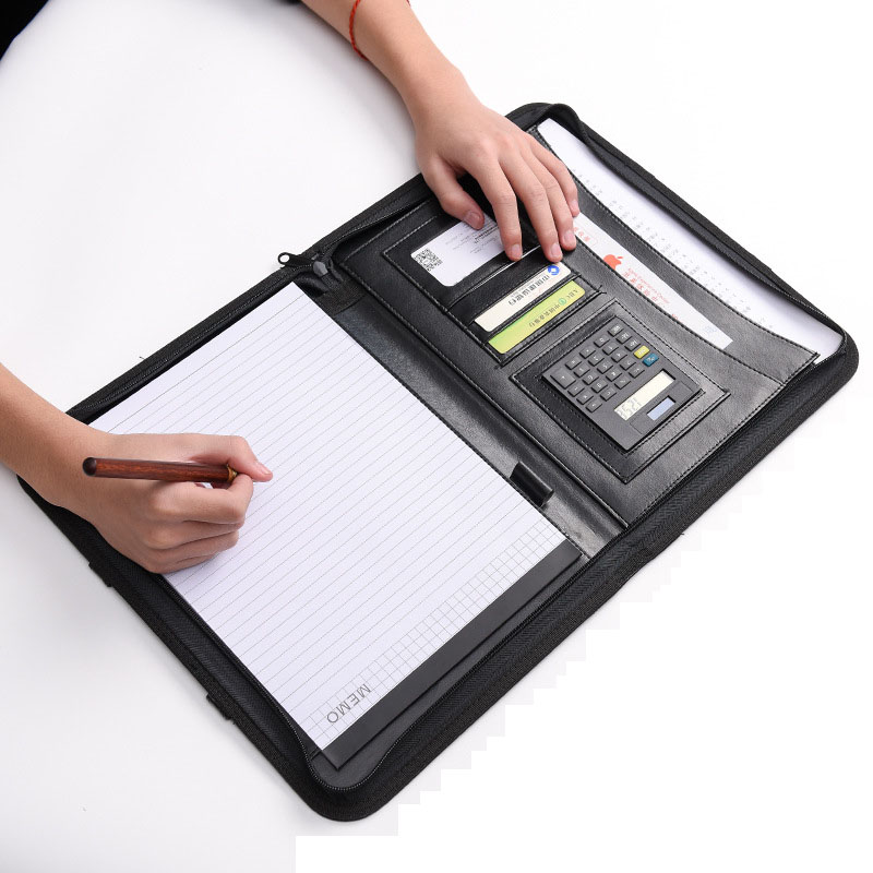 PU Leather A4 File Folder With Calculator Briefcase Handle Zipper Padfolio Business Office Manager Document Pouch Stationery