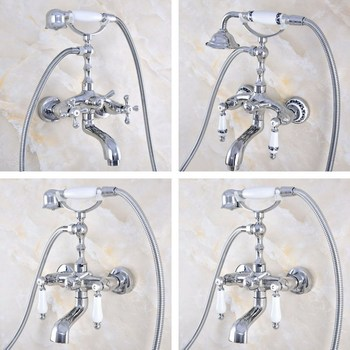 Polished Chrome Brass Two Handle Bathroom Clawfoot Tub Faucet Hand Shower Faucet Mixer Tap Set Telephone Shape Hand Spray atf813