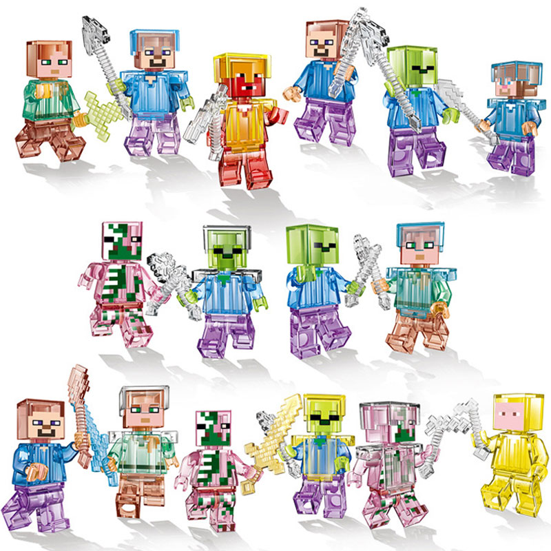 16 unids/lote Minecrafted figuras bloques Compatible Legoing Minecrafted Shadow Dragon cristal Zombie Steve Skeleton bloques de construcción