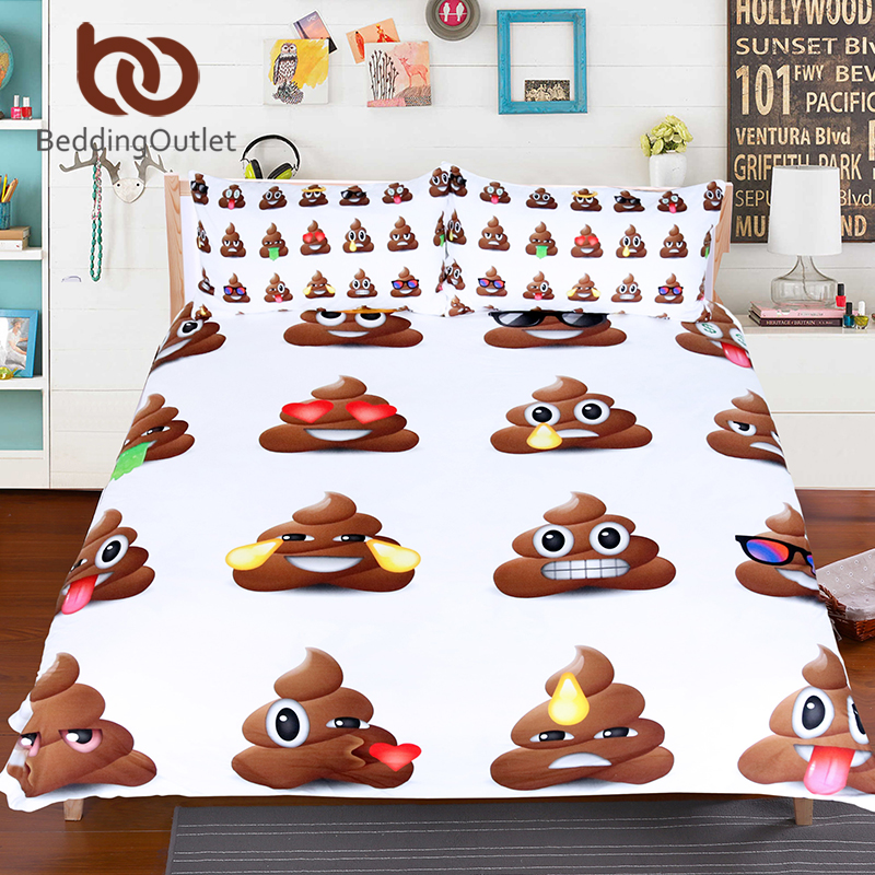 BeddingOutlet Poop Emoji Bedding Set Queen Size For Kids Funny Smiley Faces  Bed Cover With Pillowcases 3pcs Cartoon Duvet Cover