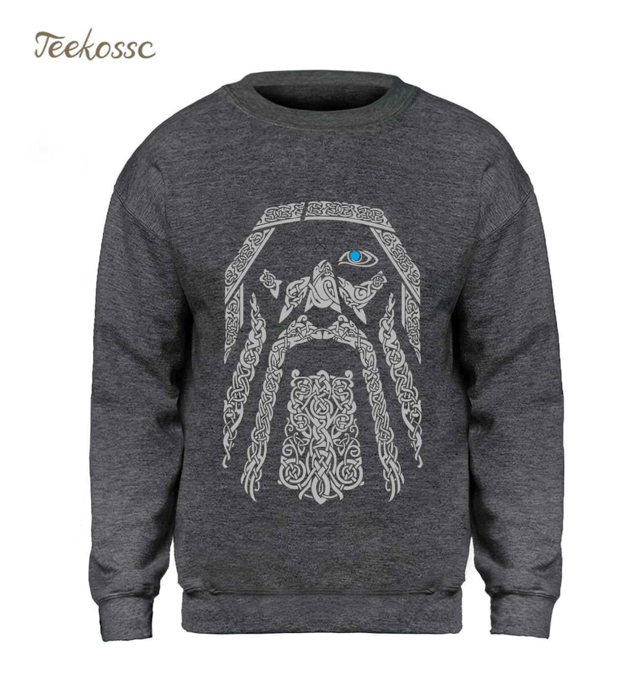 Odin Vikings Vintage Hoodie Men Sweatshirt Crewneck Sweatshirts 2018 Winter Autumn Fleece Warm Father's Day Gifts Pullover Coat