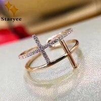 STARYEE Elegante Dubbele Cross Stijl VS H Natuurlijke Diamant Vrouwen Verlovingsringen Real 18 K Solid Rose Gold Sieraden Au750 stempel