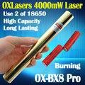 Oxlasers Полный корпус из латуни OX-BX8 Pro 4000 МВт 4 Вт фокус горения синий лазерный указатель использует 18650 батареи 5 в 1 бесплатный доставка