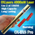 oxlasers Full brass housing OX-BX8 Pro 4000mw 4W focusable burning blue laser pointer uses 18650 batteries 5 in 1  free shipping