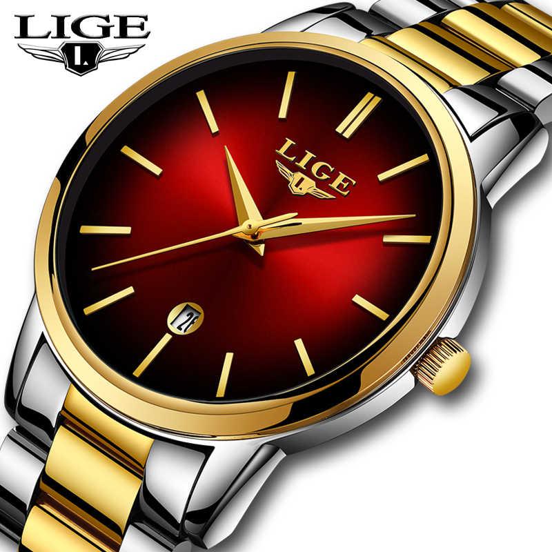 Nowy LIGE kobiety sukienka zegarki luksusowe marki panie zegarek kwarcowy pasek ze stali nierdzewnej Casual bransoletka zegarek Reloj Mujer + Box