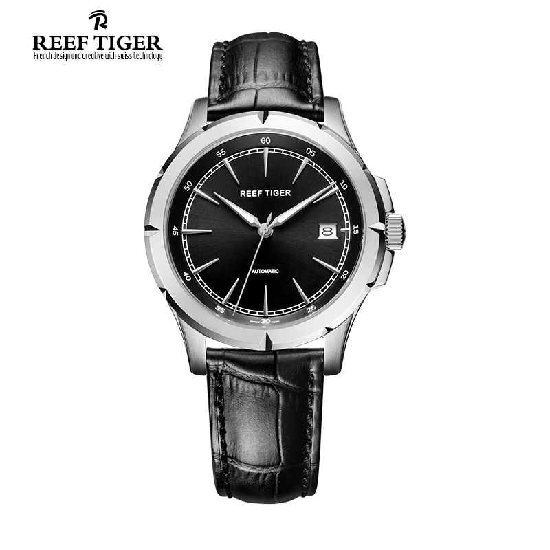 Reef Tiger 2017 Brand luxury watches men Automatic Date leather Watch Steel Case Stainless Steel Watch for Men relogio masculino