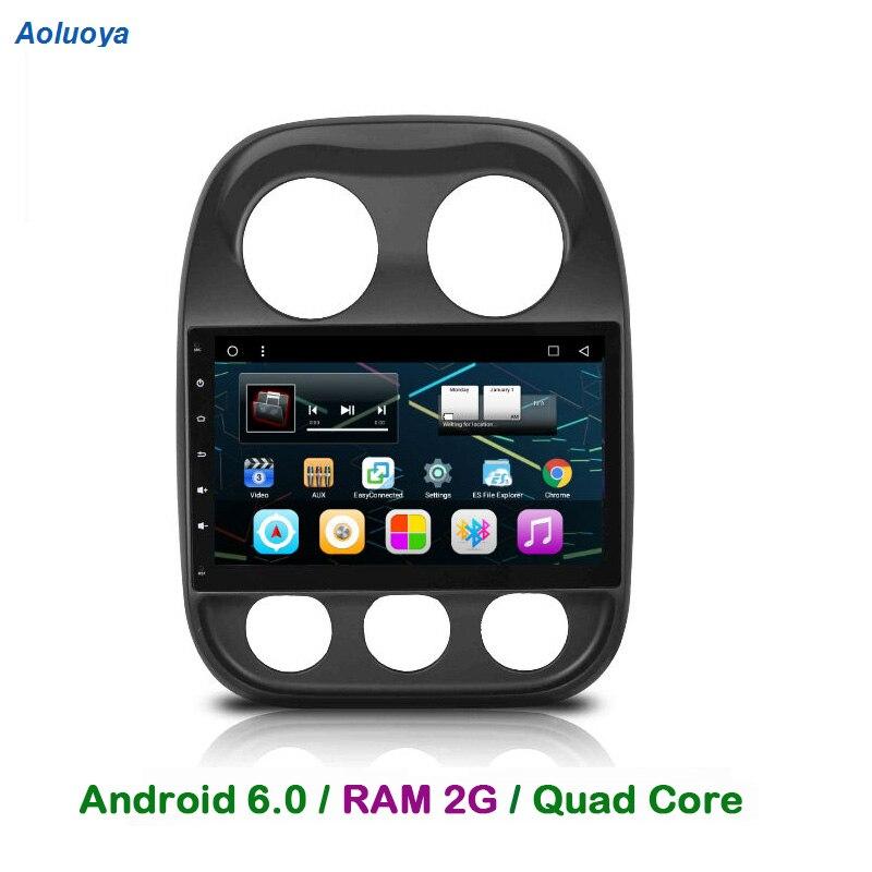 Aoluoya RAM 2GB Android 6.0.1 CAR Radio DVD GPS Navigation For Jeep Compass 2010-2016 patriot 2011-2014 Audio multimedia WIFI 3G