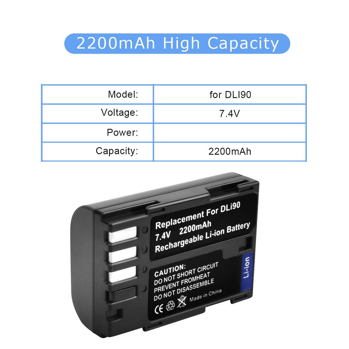 Power Batteria d-li90 per Digital Camera Pentax k7