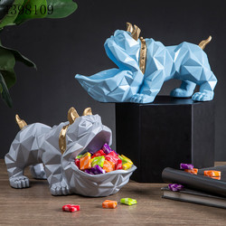 Decoración del hogar Estilo nórdico creativo de resina figura geométrica de animal perro cesta de almacenamiento multi-función clave de almacenamiento decoraciones artesanales