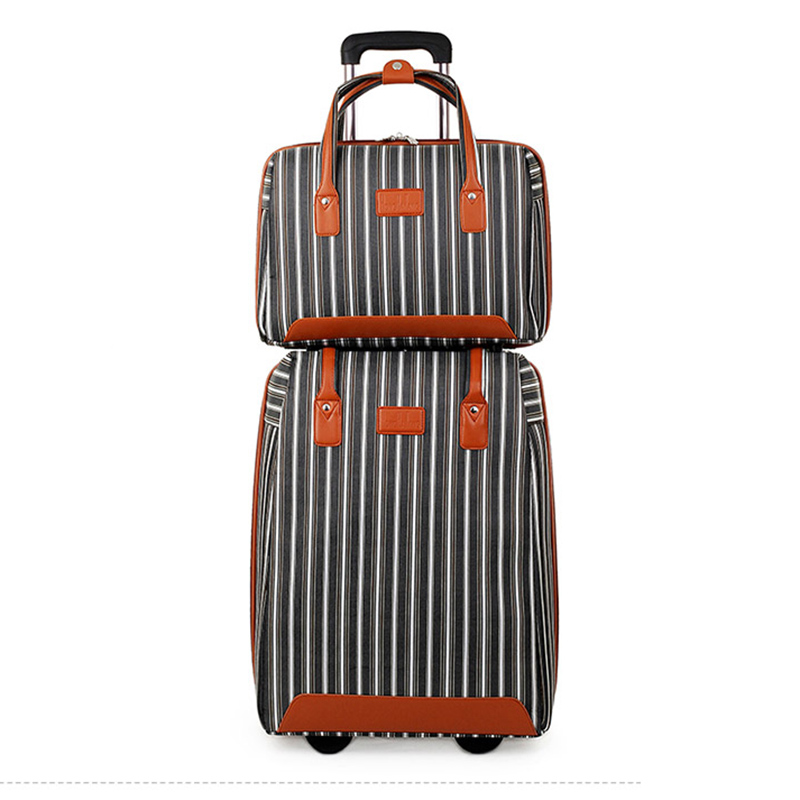 LeTrend stripe Oxford Rolling Luggage Set Spinner Multifunction Suitcase Wheels 20 inch Cabin Trolley laptop Travel Bag