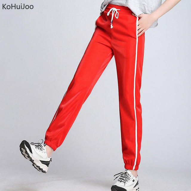 d4cbe7b1fbe KoHuiJoo Spring Summer Women Harem Pants Elastic Waist Plus Size Letter  Print Side Striped Trousers Female Sweatpants Green Red