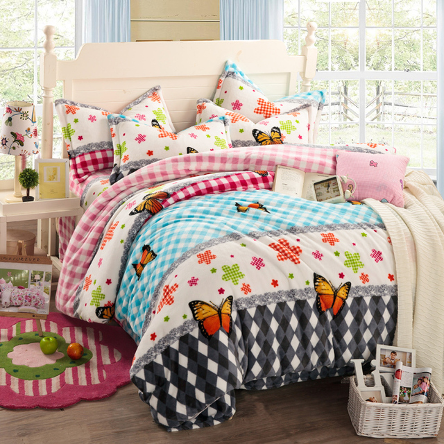 Butterfly Comforter Sets Floral Bed Linen Plaid Bedding Sets Girls Bed  Sheets Modern Comforters And Quilts