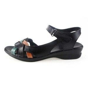 Image 2 - BEYARNE 2018 קיץ נשים אמיתי עור סנדלי טריזי נעליים נוח נשי סנדלי נעלי אמא בתוספת גודל (35 42)