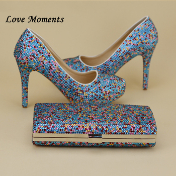 Llove moments NEW muilti color rhinestone wedding shoes SETS high heels woman platform shoes women's party shoes and purse