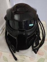 Masei 2017 Novos Predadores capacete máscara de iluminação de tira flexível do carro-styling Fibra De Vidro da motocicleta Homem De Ferro rosto Cheio preto Brilhante