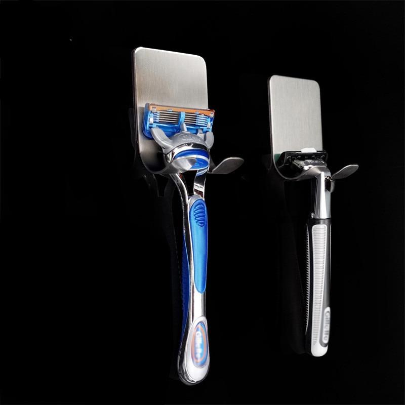 ETya 1pc New Men Shaving Shaver Shelf 304 Stainless Steel Razor Holder Shaving Razor Rack Bathroom Viscose Razor Hook