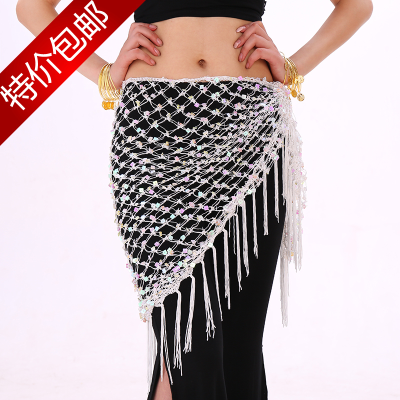 f1b477fde Belly Dance Belt butt Towel sequins triangle hanging curtain tassel belt  waist hip hot towel