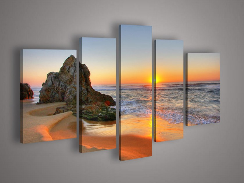 5 Piece Wall Art Seascape Blue Ocean Sunset Sea Oil Painting Canvas Picture Frame Home Modern Decoration - xinxinzhao store