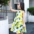 2016 Summer Style Girls Kids Lemon Print Princess Knee High Lace A-line Sleeveless Dress Baby Children Clothes Party Dresses