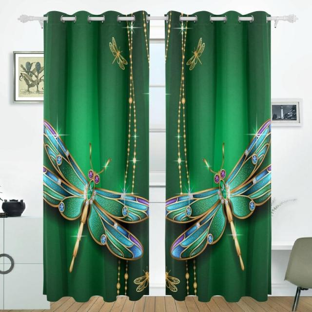 Dragonfly Curtains Drapes Panels Darkening Blackout Grommet Room Divider  For Patio Window Sliding Glass Door 55x84