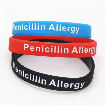 1PC Hot Sale Bracelets Medical Alert Penicillin Allergy Silicone Wristband Armband Nurse Bangles Adult 3 Colours Gift SH093 2