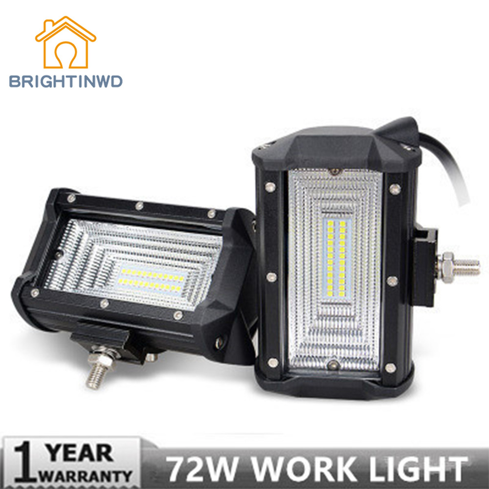 BRIGHTINWD 5 Inch 72W LED Long Spotlight Vehicle Working Lamp Off-road Vehicle Top Light for Any Cars Easy Installation Durable цена