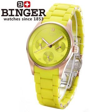 Luxurious Japan movement Binger brand quartz watch women fashion green dress wristwatch 24 hours date calendar