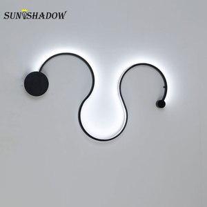 Image 3 - Nowoczesny żyrandol LED salon sypialnia jadalnia nabłyszczania kinkiet Led żyrandol oświetlenie sufitowe oprawy czarny biały