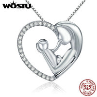 WOSTU 100 Real 925 Sterling Silver Best Mom Heart Pendant Necklaces For Women Jewelry Christmas Gift