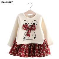Danmoke Cute Rabbit And Flowers Printed Girls Long Sleeve Dress 2017 Winter Autumn Baby Girl Princess