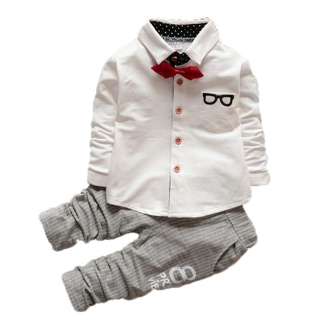 Boys Clothes 2018 New Spring Autumn New Children Gentleman Suits kids Long Sleeve Bow Tie Blouse +Cotton Pants 2Pcs Boys Sets