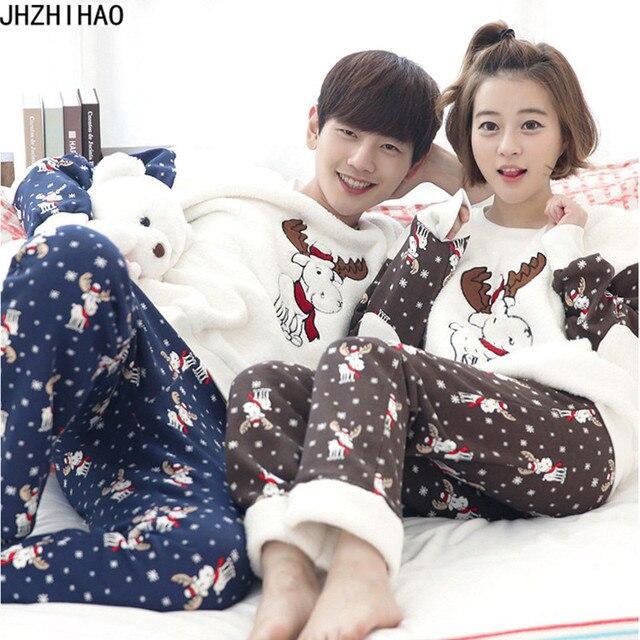 sexy pajama cute Elk casual nightdress lovers thick long-sleeve flannel couples pajamas sets plus size pijama pyjamas women