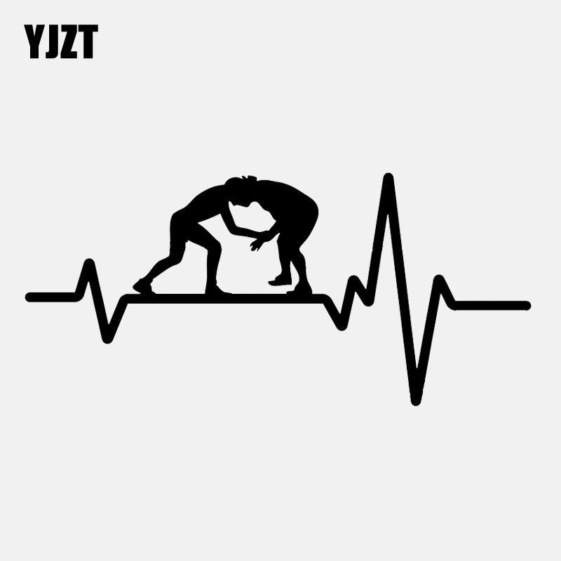 YJZT 15.7CM*7.3CM Wrestling Greco Roman Grappling Heartbeat Vinyl Black/Silver Car Sticker C22-1204