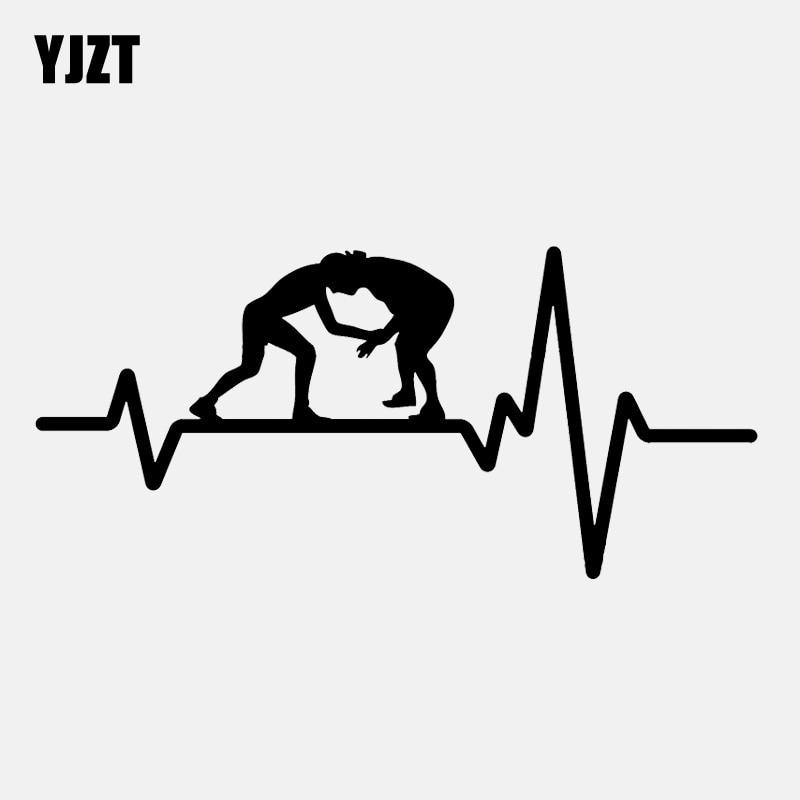 YJZT 15.7CM*7.3CM Wrestling Greco Roman Grappling Heartbeat Vinyl Black/Silver Car Sticker C22-1204