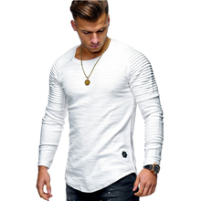 2019 New Fashion Men's Round Neck Slim Solid Color Long-sleeved T-shirt Striped Fold Raglan Sleeve Style T shirt Tops Tees striped trim raglan sleeve jacket