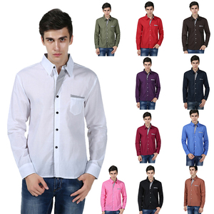 New Long Sleeve Solid Men Shirt Single Breasted Casual Camisa Masculina Slim Formal Chemise Homme Plus Size Business Men Shirt