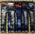 Высокое Качество Мужские Разорвал Байкер Джинсы 100% Хлопок Slim Fit мотоцикл Джинсы Мужчины Винтаж Проблемные Отверстий Denim Hip hop Jeans брюки