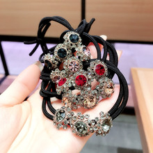 Korea  Super Shiny Crystal Flower Diamond Double Knotted Elastic Hair Bands Accessories Rubber Band Ring Ties