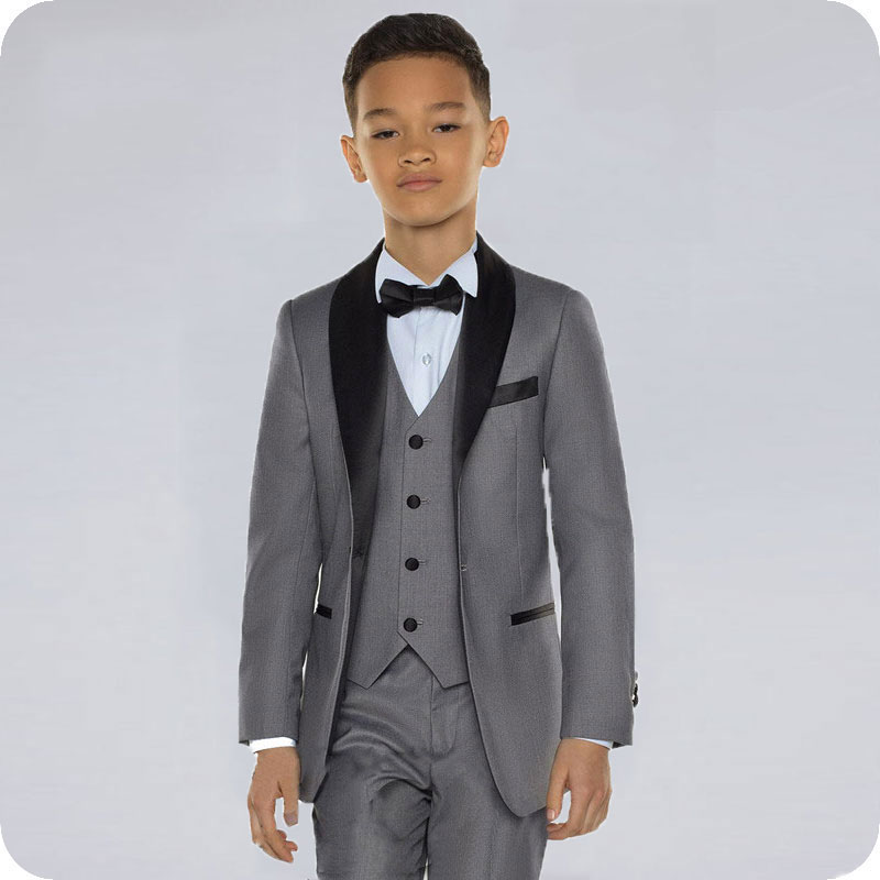 Custom Gray Baby Boys Suits Costume For Boy 2019 Kids Blazers Boy Suit Black Shawl Lapel Formal Wedding Wear Children Clothing