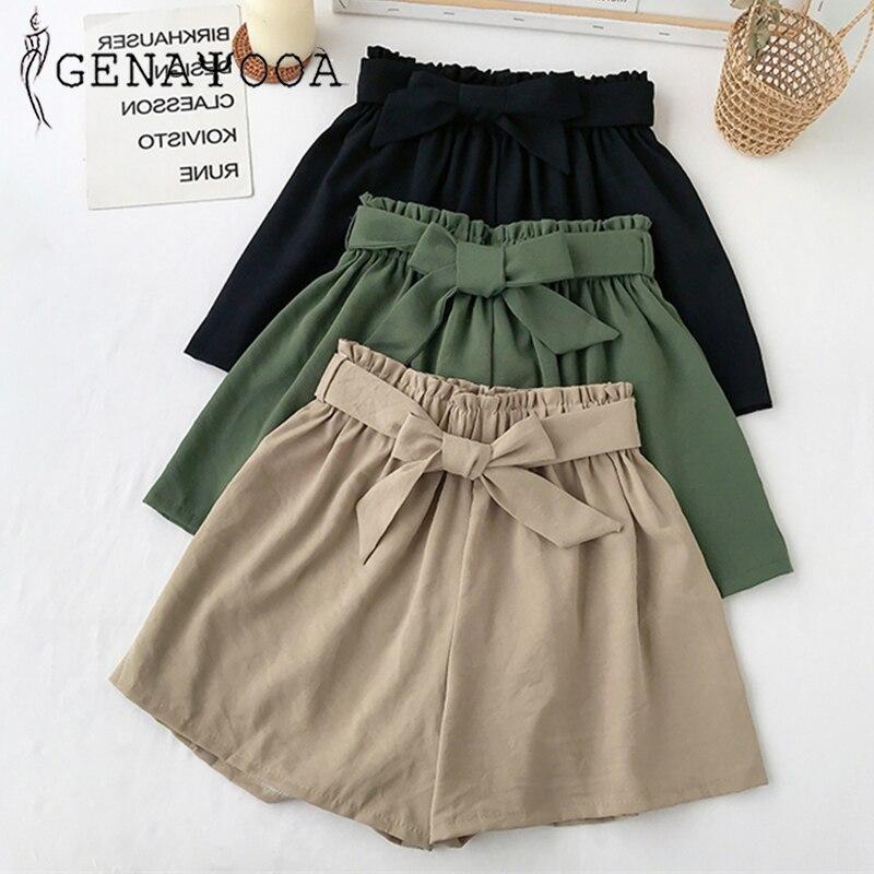 Genayooa High Quality Vogue Elastic Waist Shorts Women Bow Loose High Waist Shorts Summer 2020 Korean Harajuku Short Feminino