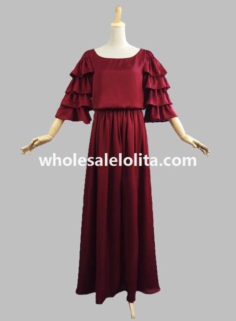 Edwardian четырехъярусная воздушная шифоновая шелковистая платье период платье историческая реконструкция
