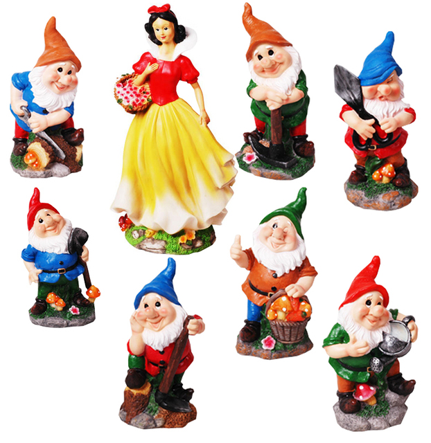 42cm poly resin garden gnome seven dwarfs and snow white action