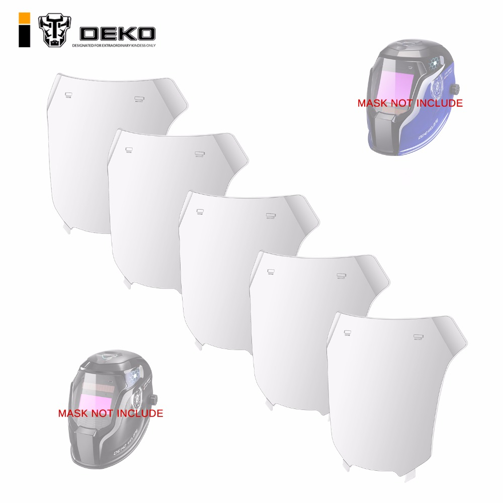 DEKO 5 Pcs Auto Darkening Welding Helmet Outside Protective Plate Replacement For Model DNS-550E / 980E